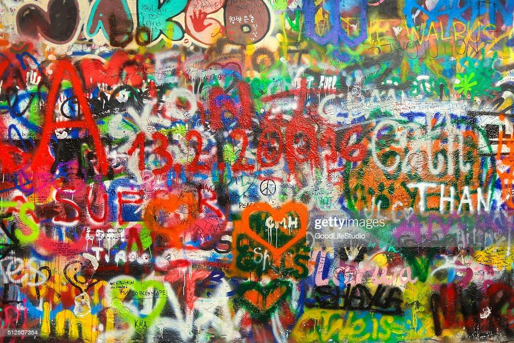 Lennon wall : Stock Photo