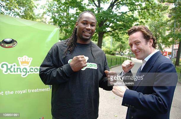 Lennox Lewis and Toby Rowland COO of Kingcom during Lennox Lewis at Kingcom Chesster Tournament at Washington Square Park in New York City New York...