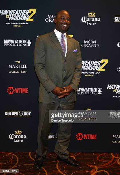 Lennox Lewis arrives at Showtime's VIP PreFight party for 'MAYHEM MAYWEATHER VS MAIDANA 2' at MGM Grand Garden Arena on September 13 2014 in Las...