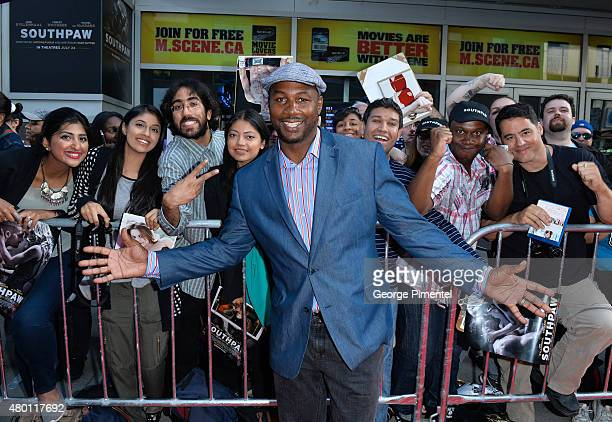 Lennox Lewis attends the Canadian Premiere of 'Southpaw' at Scotiabank Theatre on July 9 2015 in Toronto Canada