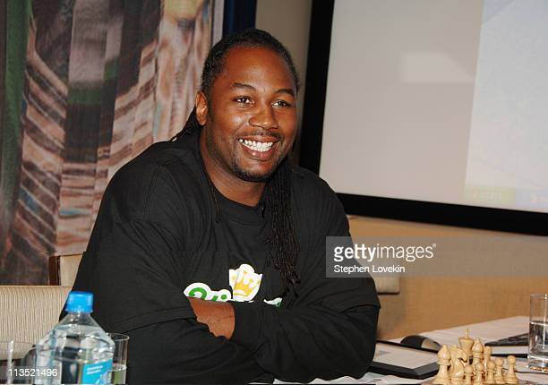 Lennox Lewis during Lennox Lewis at Kincom Chesster Tournament Screening and Cocktail Reception at The Core Club in New York City NY United States