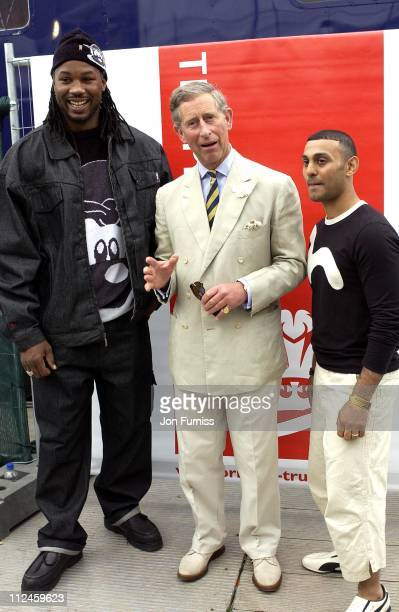 Lennox Lewis HRH Prince Charles and Naseem hamed during Capital FM Party In The Park 2002 at Hyde Park in London Great Britain