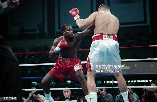 Lennox Lewis lands a punch to Andrew Golota at Caesar's Hotel Casino Atlantic City New Jersey Andrew Golota won the WBC heavyweight title by a KO 1