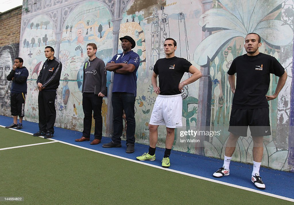 Lennox Lewis looks on during a visit to a Laureus Street League project at the Calthorpe Project on May 16, 2012 in London, England. As a follow up to the 2012 Laureus World Sport Awards in London the decision was taken to follow up with guests and invite them to take part in Foundation events and visit projects. This is particularly with the view of developing more Academy Members and Ambassadors. This will be the first time that Laureus has visited Street League since funding started in 2009.
