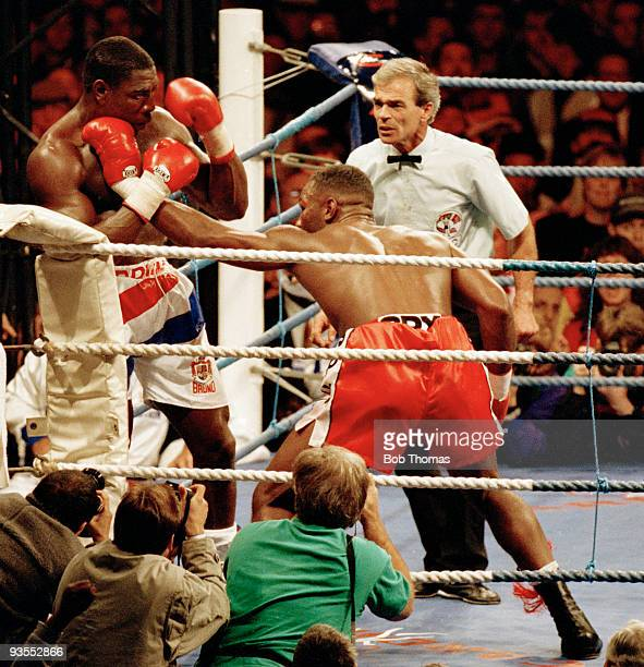 Lennox Lewis of Great Britain during his WBC World Heavyweight Championship Title fight against Frank Bruno of Great Britain at Cardiff Arms Park,...