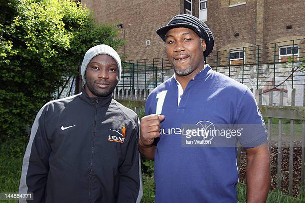 Lennox Lewis speaks to the media during a visit to a Laureus Street League project at the Calthorpe Project on May 16 2012 in London England As a...