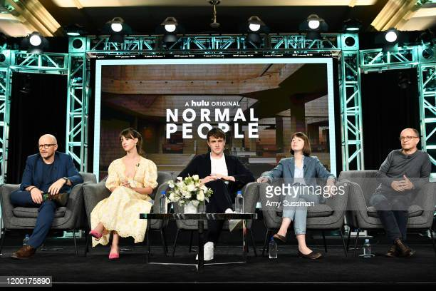 """Lenny Abrahamson, Daisy Edgar-Jones, Paul Mescal, Sally Rooney, and Ed Guiney of """"Normal People"""" speak during the Hulu segment of the 2020 Winter TCA..."""
