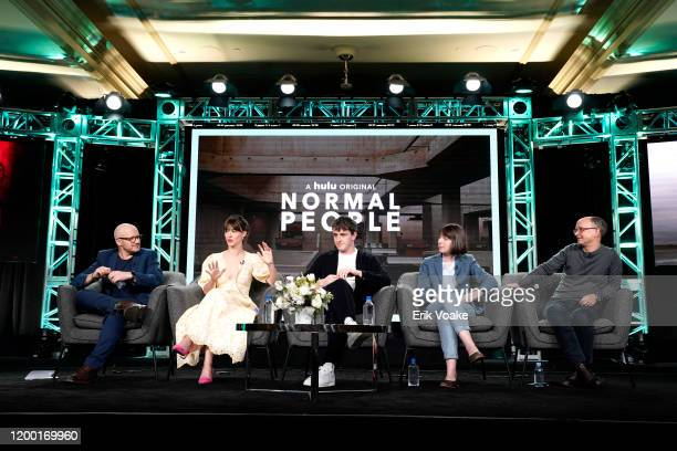 Lenny Abrahamson Daisy EdgarJones Paul Mescal Sally Rooney and Ed Guiney speak onstage during the Hulu Panel at Winter TCA 2020 at The Langham...