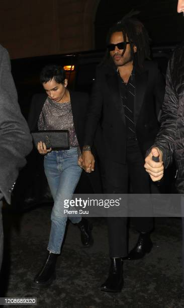 Lenny and Zoe Kravitz are seen arriving at the YSL party on February 25 2020 in Paris France