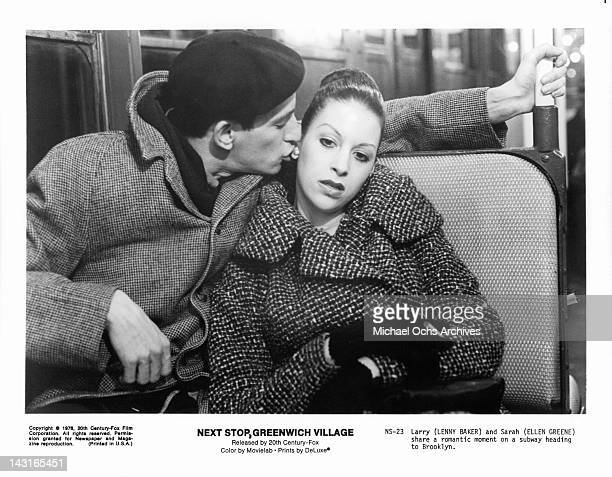 Lenny Baker and Ellen Greene share a romantic moment on a subway heading to Brooklyn in a scene from the film 'Next Stop Greenwich Village' 1976