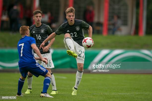 Lenny Borges of Germany and Ido Shahar of Israel fight for the ball during the 'Four Nations Tournament' match between U17 Germany and U17 Israel on...