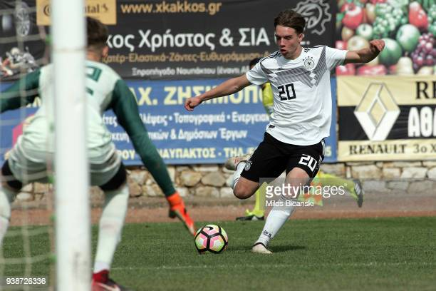Lenny Borges of Germany in action during the U17 European Championship Elite round match between Germany and Scotland at Etniko Stadio Nafpaktou on...