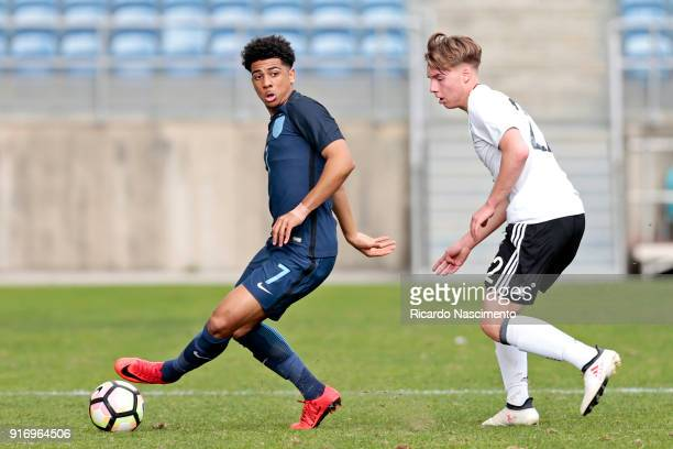 Lenny Borges of Germany U17 chalenges Xavier Amaechi of England U17 during U17Juniors Algarve Cup match between U17 Germany and U17 England at...
