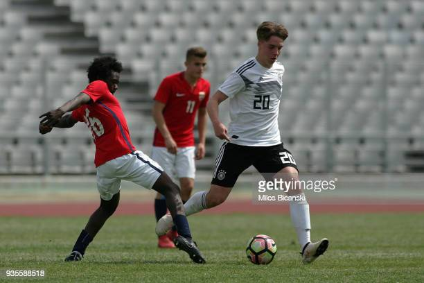 Lenny Borges of Germanyin action during the Germany vs Norway U17 at Pampeloponnisiako Stadium on March 21 2018 in Patras Greece