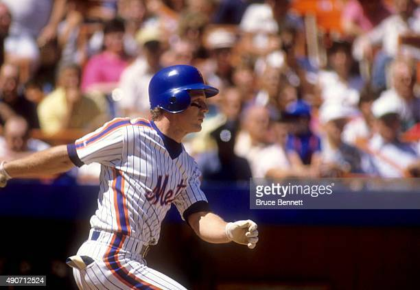 Lenny Dykstra of the New York Mets bats during an MLB game against the Montreal Expos in August 1987 at Shea Stadium in Flushing New York