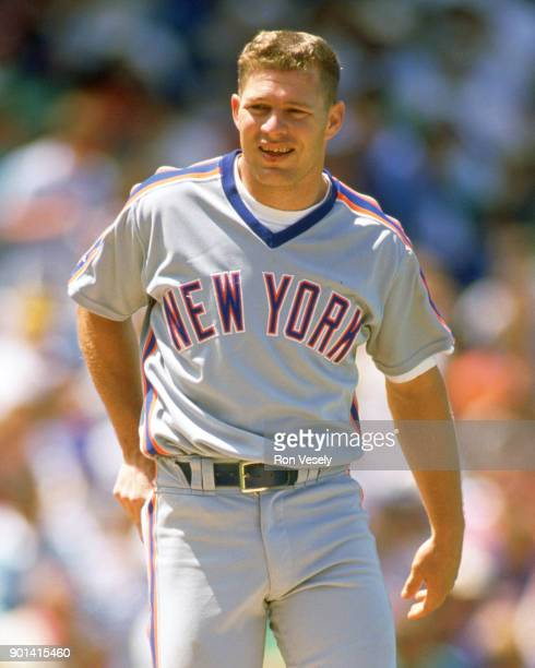 Lenny Dykstra of the New York Mets looks on during an MLB game against the Chicago Cubs at Wrigley Field in Chicago Illinois during the 1989 season
