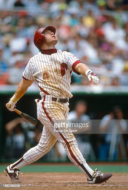 Lenny Dykstra of the Philadelphia Phillies bats during an Major League Baseball game circa 1989 at Veterans Stadium in Philadelphia Pennsylvania...