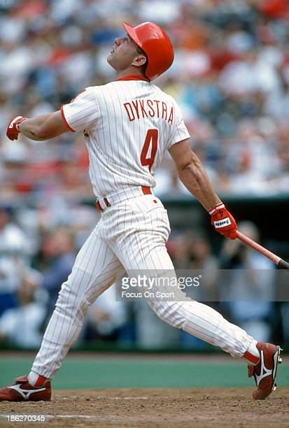 Lenny Dykstra of the Philadelphia Phillies bats during an Major League Baseball game circa 1995 at Veterans Stadium in Philadelphia Pennsylvania...
