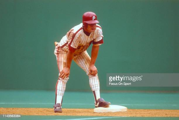 Lenny Dykstra of the Philadelphia Phillies looks on while standing on second base during an Major League Baseball game circa 1990 at Veterans Stadium...