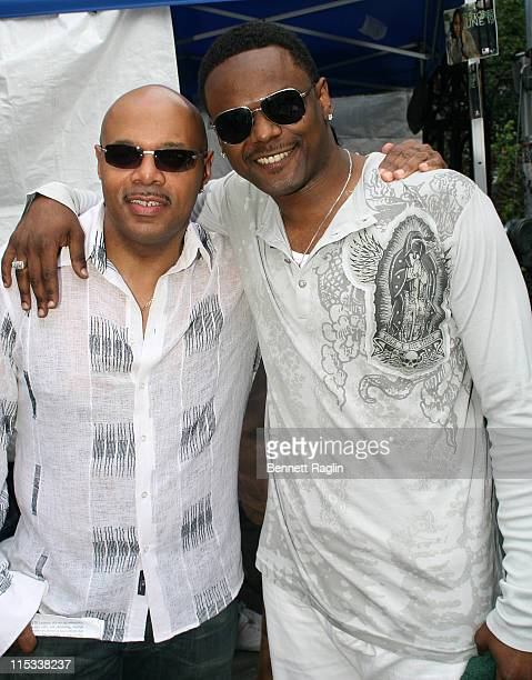 Lenny Green and Carl Thomas during JR's Music and Computer World's 6th Annual Summerfest at City Hall Park in New York City New York United States