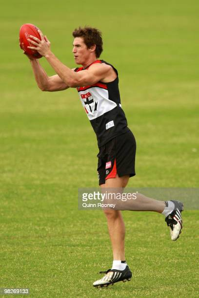 Lenny Hayes of the Saints marks during a St Kilda Saints AFL training session at Linen House Oval on April 6 2010 in Melbourne Australia