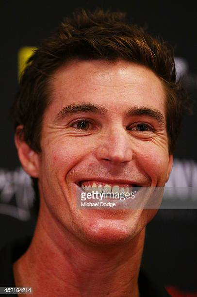 Lenny Hayes reacts after announcing his retirement during a St Kilda Saints AFL press conference at Linen House Oval on July 15 2014 in Melbourne...