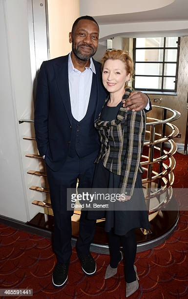 Lenny Henry and Lesley Manville attend the 2014 Critics' Circle Theatre Awards at the Prince Of Wales Theatre on January 28 2014 in London England