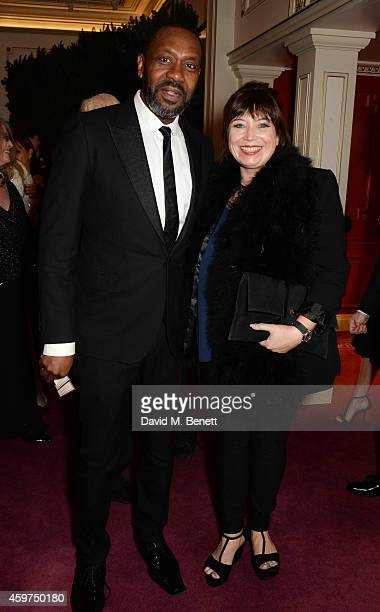 Lenny Henry and Lisa Makin attend a champagne reception at the 60th London Evening Standard Theatre Awards at the London Palladium on November 30...