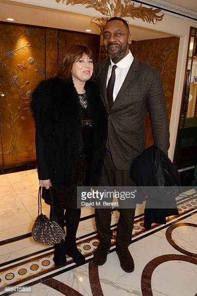 Lenny Henry and Lisa Makin attend a drinks reception at the South Bank Sky Arts awards at the Dorchester Hotel on January 27 2014 in London England