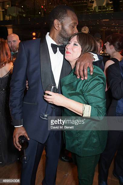 Lenny Henry and Lisa Makin attend The Olivier Awards after party at The Royal Opera House on April 12 2015 in London England