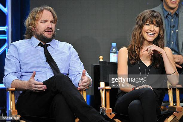 Lenny Jacobson and Devin Kelley speak onstage at the 'Frequency' panel discussion during the CW portion of the 2016 Television Critics Association...