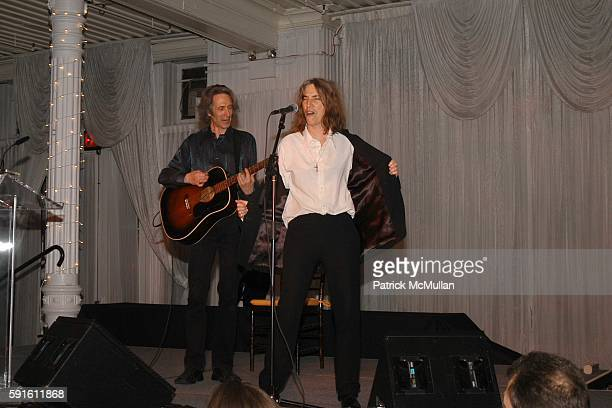 Lenny Kaye and Patti Smith attend The 2005 Annual ACE Award Dinner at The Puck Building on June 1 2005 in New York City