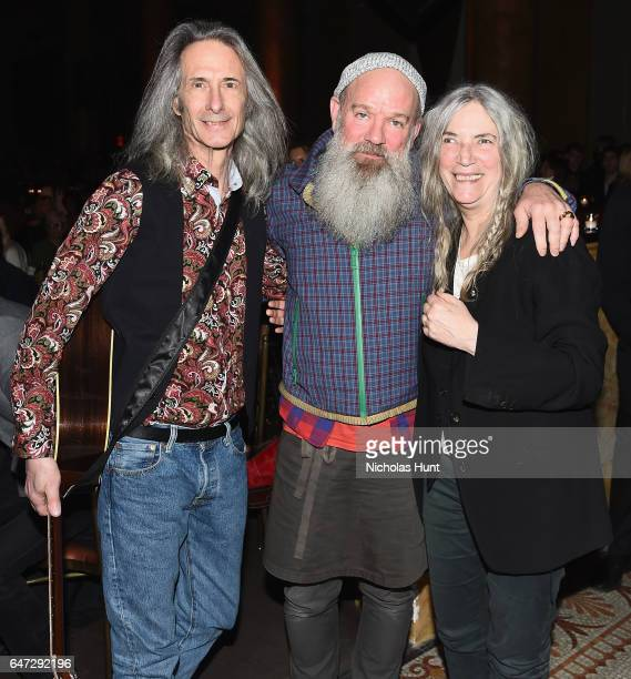 Lenny Kaye Michael Stipe and Patti Smith attend The Anthology Film Archives Benefit and Auction on March 2 2017 in New York City