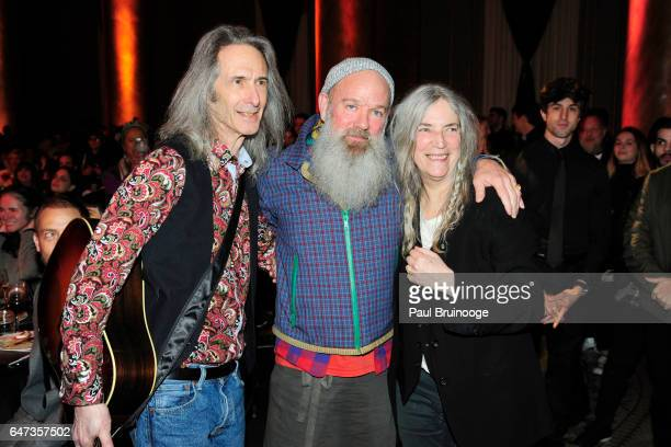 Lenny Kaye Michael Stipe and Patti Smith attend The Anthology Film Archives Benefit and Auction at Capitale on March 2 2017 in New York City