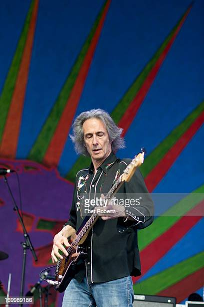 Lenny Kaye performs live on stage with Patti Smith at the New Orleans Jazz and Heritage Festival at the Fairgrounds Race Course in New Orleans...