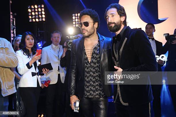 Lenny Kravitz and Adrien Brody are seen on stage at the GQ Men Of The Year Award 2014 after show party at Komische Oper on November 6 2014 in Berlin...