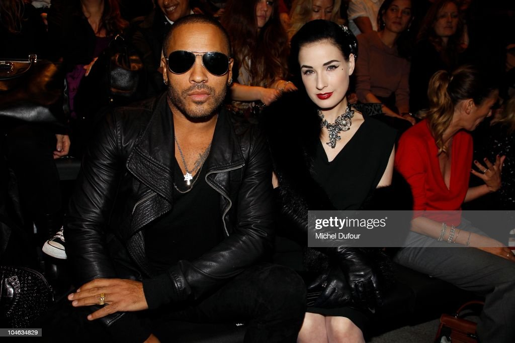 Lenny Kravitz and Dita von Teese attend the Lanvin Ready to Wear Spring/Summer 2011 show during Paris Fashion Week at Halle Freyssinet on October 1, 2010 in Paris, France.