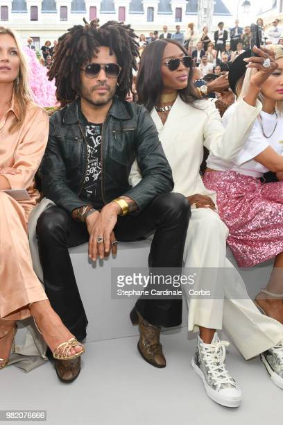 Lenny Kravitz and Naomi Campbell attend the Dior Homme Menswear Spring/Summer 2019 show as part of Paris Fashion Week Week on June 23 2018 in Paris...