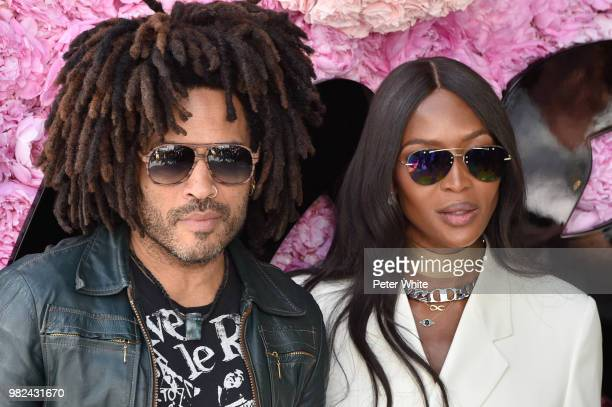 Lenny Kravitz and Naomi Campbell attend the Dior Homme Menswear Spring/Summer 2019 show as part of Paris Fashion Week on June 23 2018 in Paris France