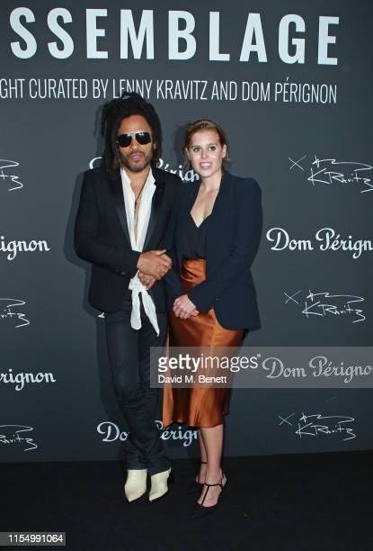 Lenny Kravitz and Princess Beatrice of York attend the Lenny Kravitz Dom Perignon 'Assemblage' exhibition the launch Of Lenny Kravitz' UK Photography...