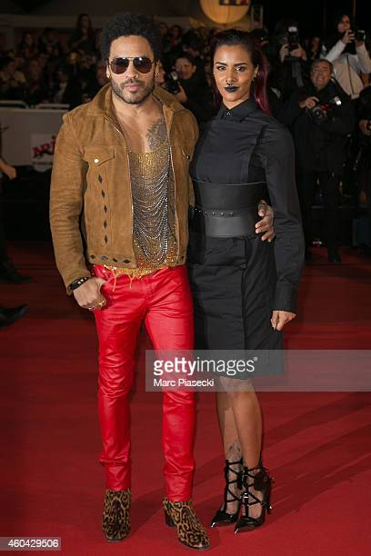Lenny Kravitz and Shy'm arrive to attend the '16th NRJ Music Awards 2014' ceremony at Palais des Festivals on December 13 2014 in Cannes France