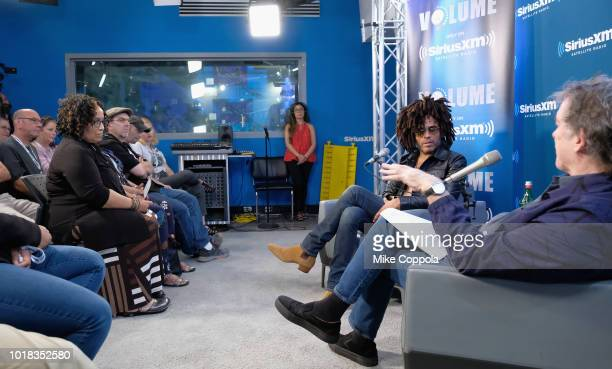 Lenny Kravitz and SiriusXM host Kurt Loder attend SiriusXM's Town Hall With Lenny Kravitz on August 17 2018 in New York City