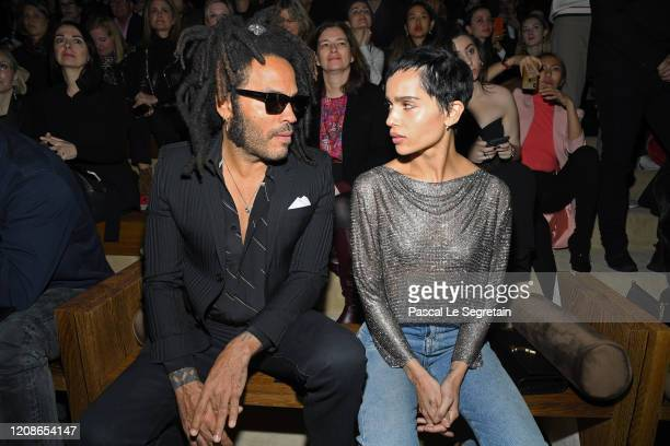 Lenny Kravitz and Zoe Kravitz attend the Saint Laurent show as part of the Paris Fashion Week Womenswear Fall/Winter 2020/2021 on February 25 2020 in...