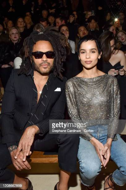 Lenny Kravitz and Zoe Kravitz attends the Saint Laurent show as part of the Paris Fashion Week Womenswear Fall/Winter 2020/2021 on February 25 2020...