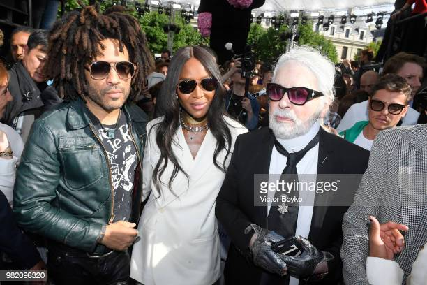 Lenny Kravitz Naomi Campbell and Karl Lagerfeld attend the Dior Homme Menswear Spring/Summer 2019 show as part of Paris Fashion Week on June 23 2018...