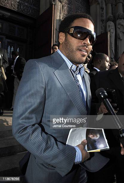 Lenny Kravitz on the steps of Riverside Church following the funeral service for Photographer Gordon Parks on March 14 2006 in New York City