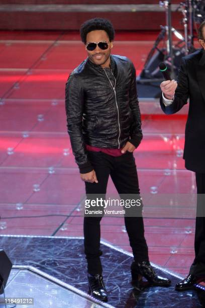 Lenny Kravitz performs at the Teatro Ariston, during the first day of the 58th Sanremo Music Festival, on February 25, 2008 in Saremo, Italy.