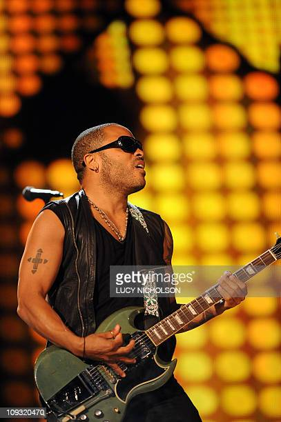 Lenny Kravitz performs before the start of the NBA AllStar Game February 20 part of NBA AllStar Weekend at Staples Center in Los Angeles California...