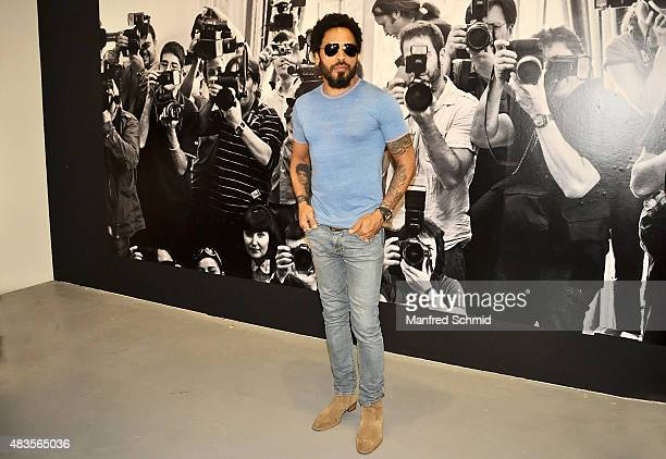 Lenny Kravitz poses during the press conference for Flash by Lenny Kravitz exhibition at Ostlicht Gallery on August 10 2015 in Vienna Austria