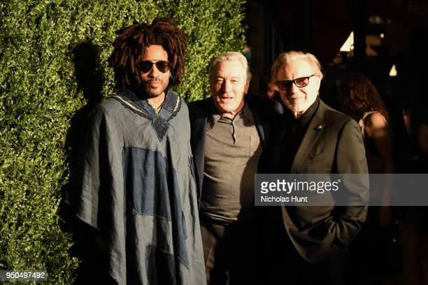 Lenny Kravitz, Robert De Niro, and Harvey Keitel attends the CHANEL Tribeca Film Festival Artists Dinner at Balthazar on April 23, 2018 in New York...